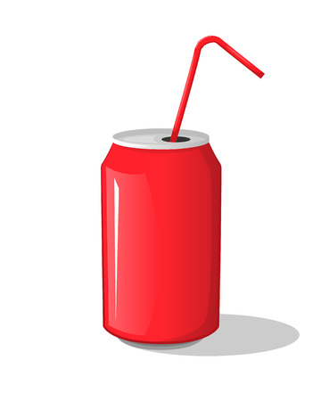 aerated: Cola drink in a red metal bank bottle cup with sticks isolated Vector Illustration on a white background. Aerated drink in package sweet symbol icon for your projects. Illustration