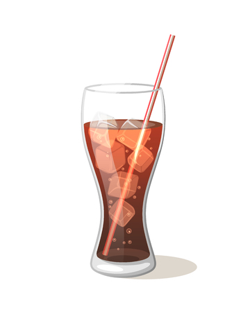 aerated: Cola drink in a glass cup with ice with sticks Vector Illustration on a white background. Aerated drink sweet symbol icon Glass for your projects.