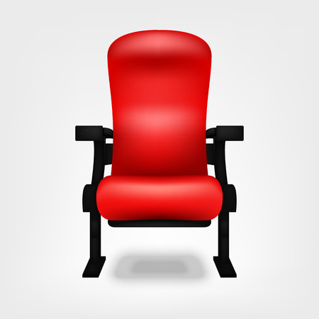 Seat red chair in the cinema isolated on a white background Vector Illustration. Watching movies in a comfortable chair in the room for your projects.