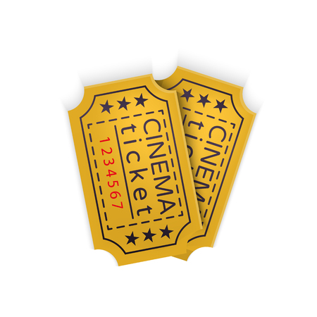 cinematograph: Cinema ticket in retro style isolated on white background Vector Illustration. Ticket pass to the movie theater in fun cinematograph for your projects.