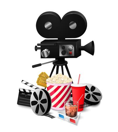 Stellen Sie die Kinoelemente ein, die auf weißer Hintergrundvektorillustration lokalisiert werden. Zusammensetzungsposterpostkarte mit Retro- Kameradirektor, Film. Standard-Bild - 74812895
