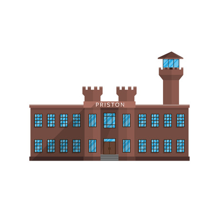 Prison building in flat style isolated on white background Vector illustration. Structure of prisoners criminals symbol for your projects.