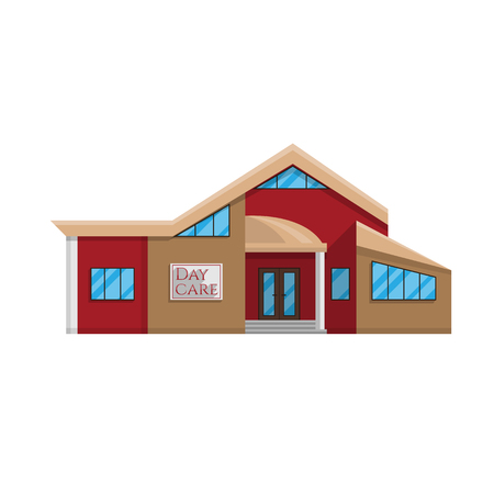 Daycare building in flat style isolated on white background Vector illustration.