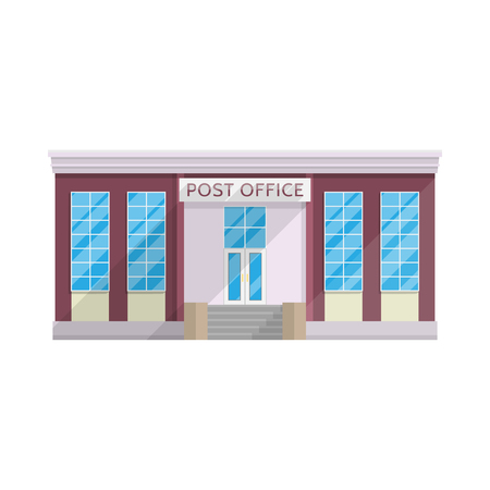 Post office building in flat style isolated on white background Vector illustration. Sending mail, parcels, letters, symbol for your projects.