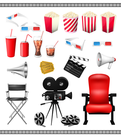 cinema screen: Big set of collection elements of cinema isolated on a white background vector illustration. Composition poster postcard with retro camera director, film, 3D-glasses, when ticket, popcorn, speaker.