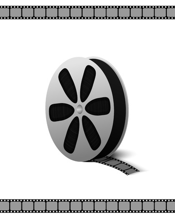 old photograph: Film coil camcorder for recording movies and videos isolated on white background Vector Illustration. Equipment to element symbol of video recording for your projects.