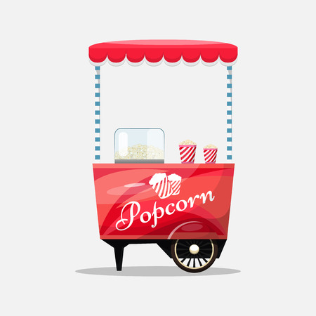 Popcorn cart, kiosk on wheels, retailers, sweets and confectionery products, and flat style isolated on white background vector illustration. Snacks for your projects.
