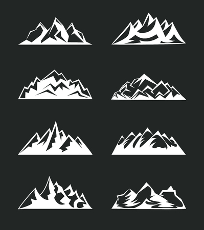 Set Mountains peaks, ski logo design elements icon collection isolated. Vector Illustration accident investigation.