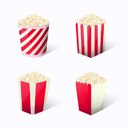 Popcorn set collection in different packages snack striped boxes when watching movies. Fast food icon vector illustration for your project boundary.