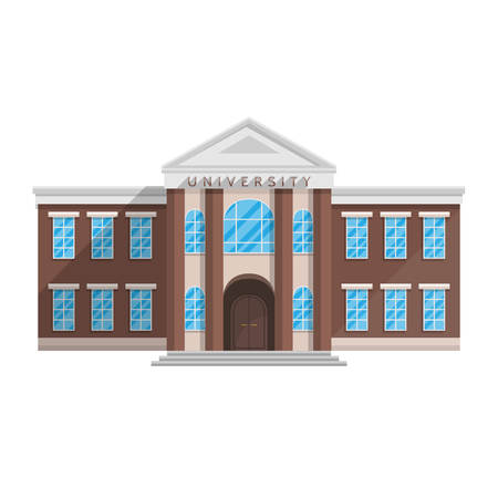 University building in flat style isolated on white background Vector illustration. Training of higher education science.