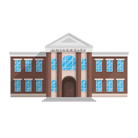 Universitair gebouw in vlakke stijl geïsoleerd op witte achtergrond Vectorillustratie. Opleiding van hoger onderwijswetenschappen. Stock Illustratie