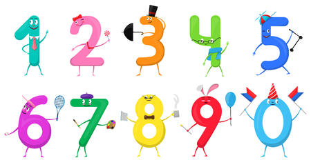 Cute fun colorful collection numbers in the form of various cartoon characters for kids isolated.