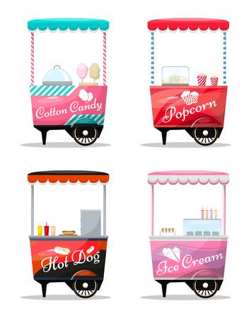 Carritos conjunto de venta al por menor, palomitas de maíz, dulces de algodón, hot dog, kiosco de helado sobre ruedas, dulces y confitería, ilustración de vector de estilo aislado y plano. Ilustración para sus proyectos. Foto de archivo - 75483335