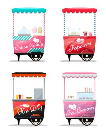 Carts set retail, popcorn, cotton candy, hot dog, ice cream kiosk on wheels, sweets and confectionery, isolated and flat style vector illustration. Illustration for your projects.