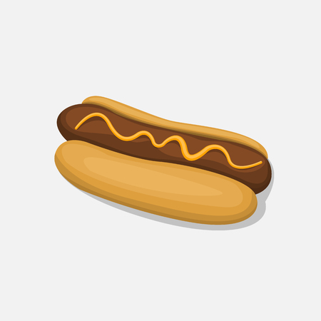 Hot Dog isolated in cartoon style icon on a white background Vector Illustration. Fast food bun with sausage and mustard snack symbol for your projects. Illustration