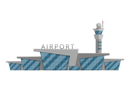 Airport building is isolated in the Flat style on a white background vector illustration. Modern airport in a modern style, flying vehicles, travel to other countries tourism symbol for your projects.