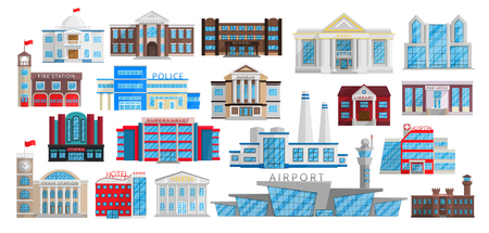 Buildings set isolated in Flat style vector. Municipal library, bank, hospital, school university, fire station, police, museum, post office, cinema, theater sepermarket factory airport prison