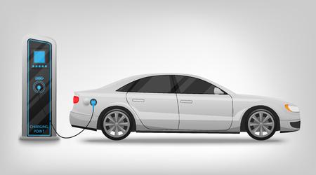 Estación de carga de coche eléctrico y banner aislado sobre fondo blanco Ilustración vectorial. Electricidad eco nueva tecnología coches del futuro, un símbolo para sus proyectos.