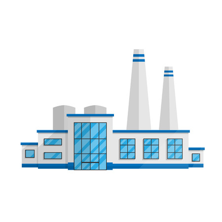 Factory building in the Flat style isolated on white background vector illustration. The plant production of goods and various production, a symbol for your projects. Illustration