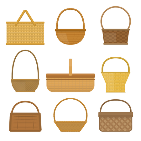 bast basket: Empty baskets set isolated on white background vector illustration. Wicker picnic baskets, picnic Easter holiday, osier container clean, symbols for your projects. Illustration