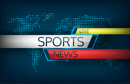 Sports News live on a background map of the world isolated vector illustration. Latest news, technology communications, including direct sporting achievements, dissemination of information