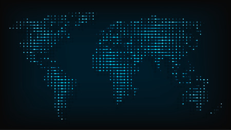 夜ライト抽象的なベクトル図から分離された世界地図。抽象的な世界地図のコンピューターは、あなたのプロジェクトのローカルで強調表示された