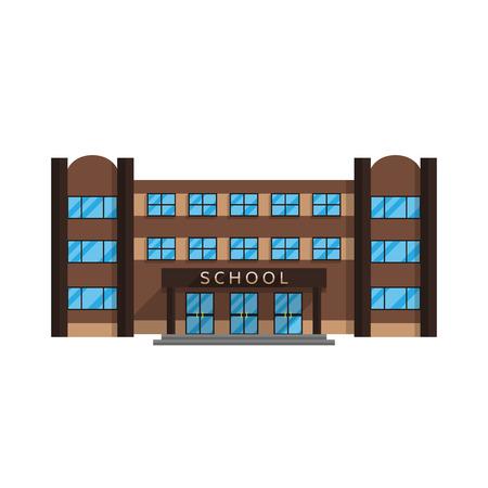학교 건물 흰색 배경 벡터 일러스트 레이 션에 플랫 스타일에서 격리됩니다. 초등 및 중등 교육, 건물 귀하의 프로젝트에 대한 취득 문자 교육.