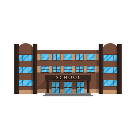 School building is isolated in the Flat style on a white background vector illustration. Elementary and secondary education, the building where the acquired character education for your projects. Illustration