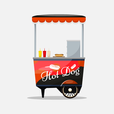 Hot dog cart, kiosk on wheels, retailers, fast snack breakfast, fast food and flat style, isolated on white background vector illustrations. Symbol for your projects.