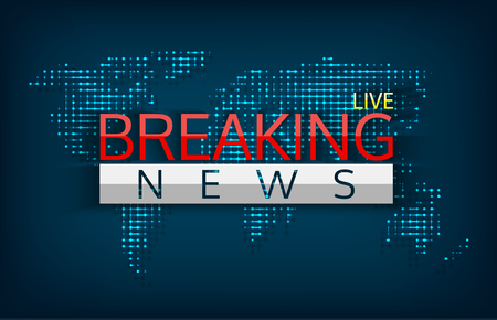 Breaking news live on world map background isolated vector illustration. Emergency latest news, communication technology, including direct, dissemination of information.