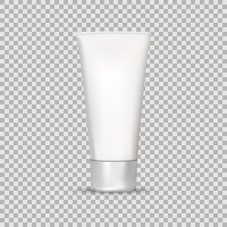 Mock Up Tube de crème ou de gel en niveaux de gris dans un style réaliste isolé sur une illustration vectorielle de fond transparent. Cosmétiques, Maquillage de beauté pour vos projets. Banque d'images - 76510117