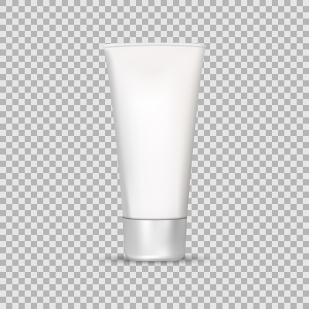 Mock Up Tube Of Cream Or Gel Grayscale in a realistic style isolated on a transparent background vector illustration. Cosmetics, Beauty makeup for your projects. Banco de Imagens - 76510117