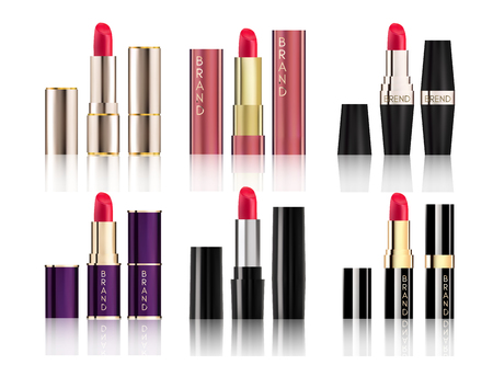 Lipstick Collection set of different cosmetics packaging design Mock-Up realistic style isolated on white background Vector Illustration. Cosmetics, Fashion & Beauty Make Up brand for your projects. Illustration