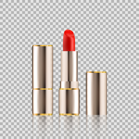 Lipstick cosmetics in package design mock-up realistic style isolated on Transparent background Vector Illustration. Cosmetics, Fashion & Beauty Make Up brand for your projects.