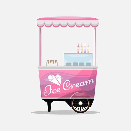 Ice cream cart, kiosk on wheels, retailers, dairy desserts, isolated and Flat style vector illustration. Cool refreshing dessert sale Illustration for your projects. Ilustração