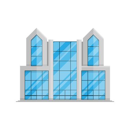 Office business building isolated Flat in style on a white background vector illustration. Art Nouveau building, property, symbol for your projects.