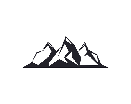 Mountain peaks, ski design elements icon collection isolated on white . Illustration accident investigation, hiking, rock climbing camping traveling in the mountains. Illustration