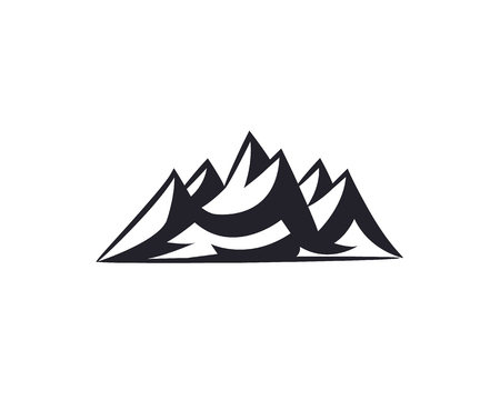Mountain peaks, ski logo design elements icon collection isolated on white background. Vector Illustration accident investigation, hiking, rock climbing camping traveling in the mountains.