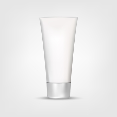 크림 또는 젤의 튜브를 모의 흰색 배경 벡터 일러스트 레이 션에서 격리하는 현실적인 스타일에 회색 음영. 귀하의 프로젝트에 화장품, 미용 메이크업. 일러스트