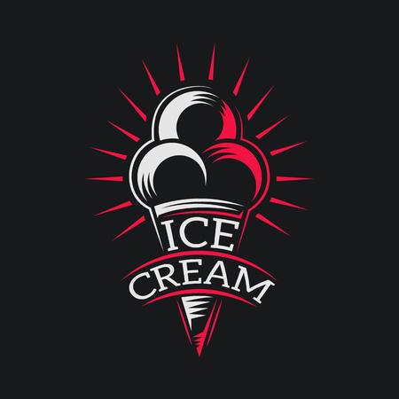 アイス クリーム デザイン シンボル マークは、ファッショナブルなスタイルで分離されています。アイスクリーム製品ラベルのロゴ シンボル アイ