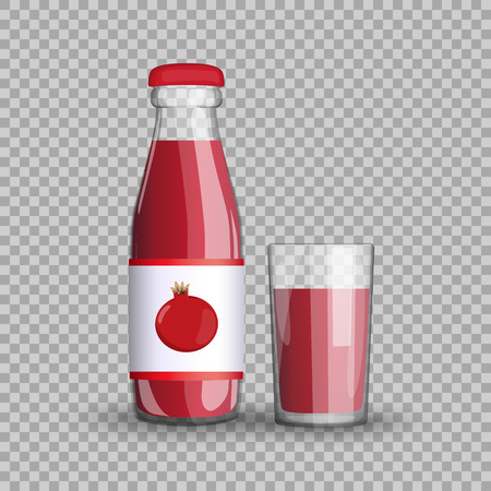 Garnet juice in a transparent glass bottle isolated in a glass cup on transparent background.