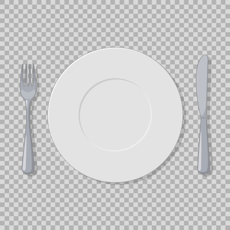 Plate, fork and knife vector object isolated on a transparent background Illustration