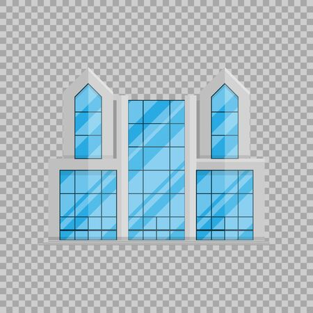 Office business building isolated Flat in style on transparent background vector illustration.