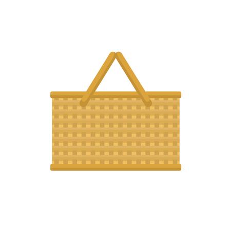 Empty baskets set isolated on white background vector illustration. Çizim