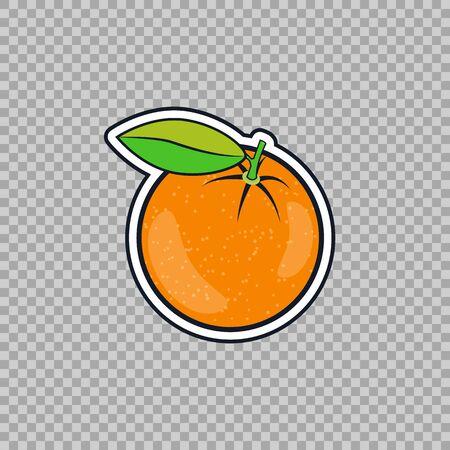 Orange flat style isolated. Icon, symbol tropical citrus fruit on a transparent background nature theme