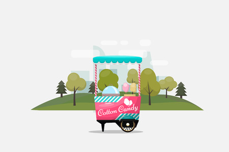 Cotton candy cart, kiosk on wheels, retail, sweets and confectionery, isolated and fle style Vector Illustration. Ilustração