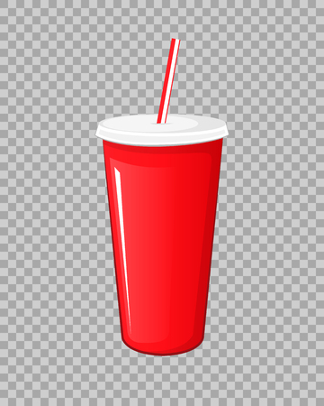 Cola drink in a red plastic pot cardboard cup with chopsticks isolated vector illustration on a transparent background.