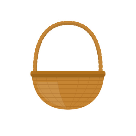 bast basket: Empty baskets set isolated on white background vector illustration. Wicker picnic baskets, picnic Easter holiday