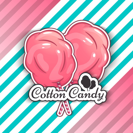 Cotton Candy Isolated Logo Emblem for Your Products, Vector Illustration of Handmade. Symbol of a cloud of sugar Ilustração