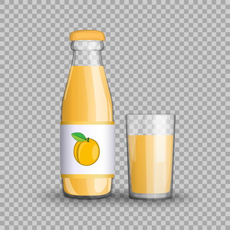 Apricot juice in a transparent glass bottle isolated in a glass cup on transparent background. Imagens - 84949550
